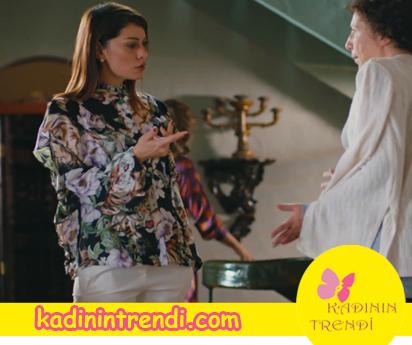 Cesur ve Güzel 8 bölüm Cahide'nin giydiğiçiçek desenli gömleğin markası