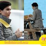Cesur ve güzel 9 bölüm dizi kıyafetleri Sühan'ın giydiği sarı yakalı siyah beyaz kareli kabanın markası