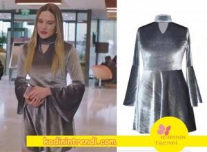 Paramparça dizisinin 88 bölümü Hazalın giydiği gri kadife elbisenin markası H6 by Hazal Ozman