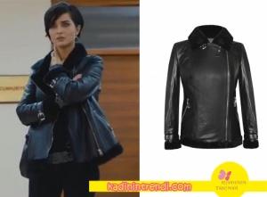 • Cesur-ve-güzel-dizi-kıyafetleri-15-bölüm- Tuba Büyüküstünün giydiği siyah deri mont h6byhazalozman markadır.