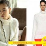 Kara sevda 54 Bölüm Dizi Kıyafetleri Nihan'ın Giydiği beyaz boğazlı triko kazak Beymen marka.