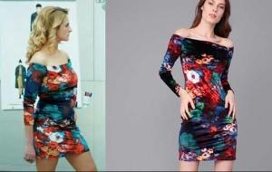 Yıldızlar-Şahidim-1-ve-2-Bölüm-Dizi-Kıyafetleri-Zeyno-renkli-çiçekli-kayık-yaka-elbise