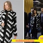 İstanbullu-Gelin-3-bölüm-dizi-kıyafetleri ipek siyah beyaz çizgili kürk kaban ADL