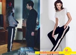 Kara Sevda Son Bölümde Nihan'ın giydiği şeritli pantolon markası Forever New.