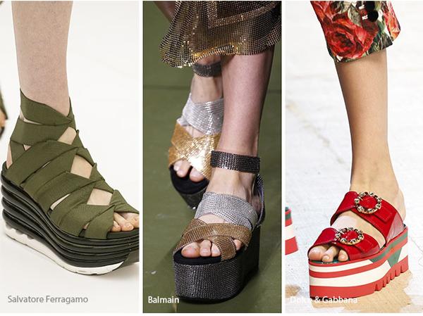 Gucci ve Balmain gibi markaların tercihi parçalı platform topuklar oldu.