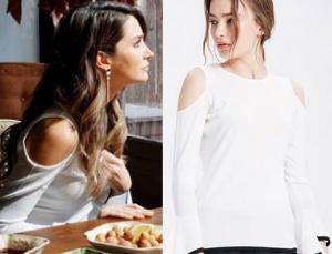 Seçil omuz dekolteli omuzları açık beyaz kazak markası adL.
