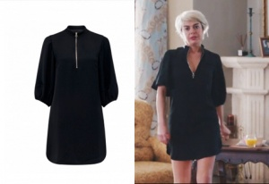 İçerde-30-bölüm-dizi-kıyafetleri-Yeşim karakterinn yakası fermarlı siyah elbise Forever New