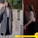 Fi 5 ve 6 bölümlerde Serenay Sarıkaya nın giydiği derin yırtmaçlı uzun siyah etek ve krem rengi yarım kol triko crop ve uzun gri palto kombini