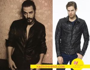 Fi dizi kıyafetleri Mehmet Günsur Vogue Türkiye dergisine poz verirken giydiği siyah deri gömlek markası Que