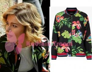 Hayat Şarkısı 50 Bölüm Hülya Sİyah çiçek desenli bomber Ceket markası Twist