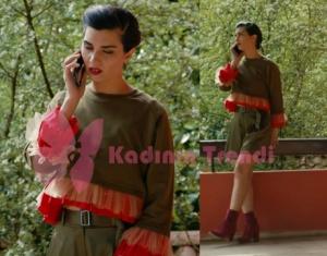 Sühan'ın giydiği kırmızı fırfırlı haki bluz şort takımı Gizia Gate marka