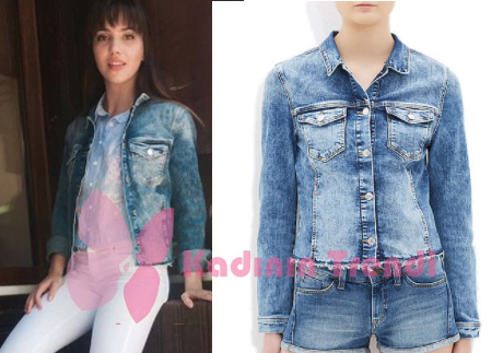 Adı Efsane Melisin giydiği sırtı desenli kot ceket mavi marka
