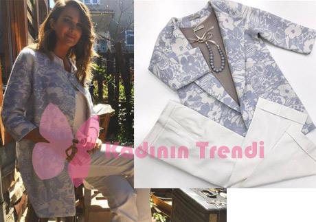 Adı Efsane Rojda demirer Seçil beyaz mavi desenli ceket ve beyaz pantolon Stefanel