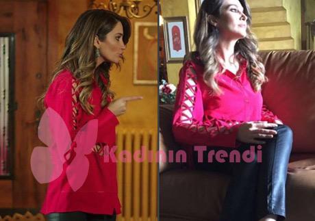Adı Efsane Seçil kolları transparan kırmızı gömlek ve siyah parlak pantolon Yasemin Pektaş marka