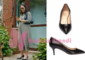 Cesur ve Güzel Cahide siyah stiletto markası İnci Deri. Cahide Hamile Tulum ve hırka markası araştırılıyor