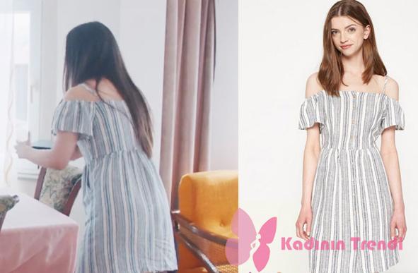 Eylem karakterinin giymiş olduğu çizgili elbisenın markası Koton.