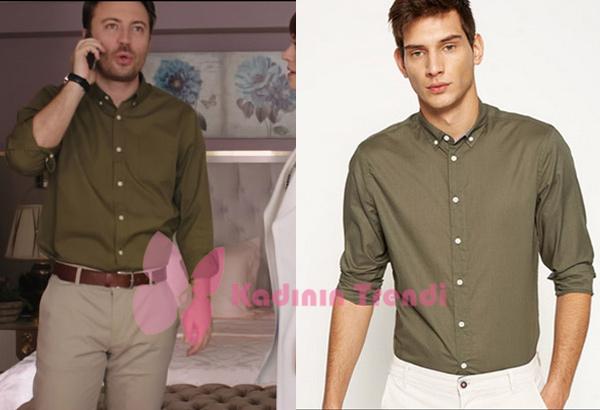 Fazilet-Hanım-ve-Kızları-8.-Bölüm-Dizi-Kıyafetleri- Gökhan'ın haki Gömleği Koton marka