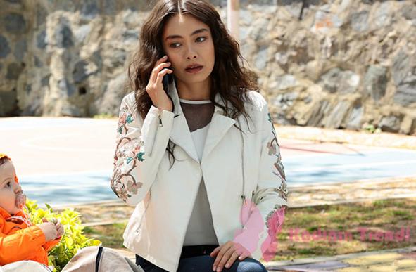 Kara sevda 69. bölümde nihanın giydiği kolları çiçek işlemeli beyaz ceket ADL