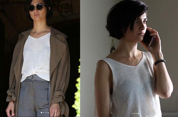 Tuba Büyüküstün Beyaz bluz ve kahve rengi kumaş pantolon İpek Yol marka