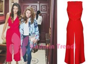 Nil karakterinin giymiş olduğu kırmızı tulum markası Merve Topal