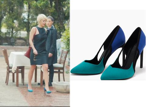 içerde Yeşimin siyah elbisesi araştırılıyor. Siyah elbise ile giydiği mavi ayakkabısı Bershka