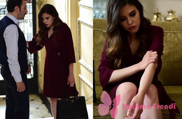 İstanbullu gelin 12. bölüm İpek karakterinin giydiği mor elbise görseli