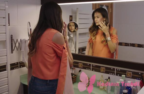 Fazilet Hanım ve Kızları 11. bölümde Nilin giydiği omuzları açık turuncu bluz Trendyol marka