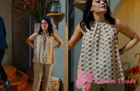 Cesur ve Güzel Cahide hamile giyim kuş desenli hamile bluzu hangi marka