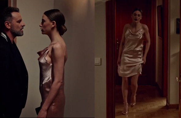 Duru Sarı metalik gece elbisesi görseli Fi 11. Bölüm