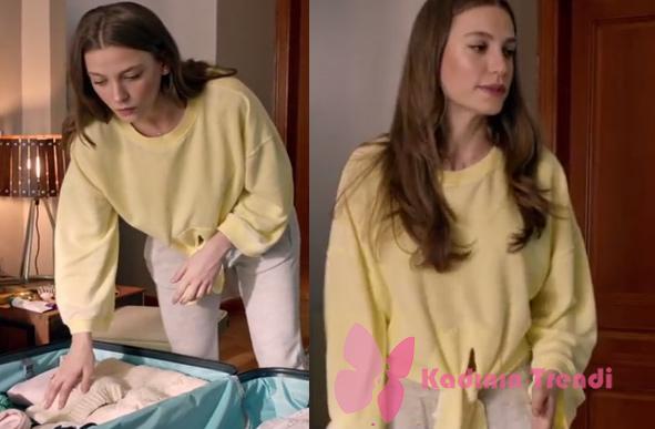 Fi 11. Bölüm Serenay Sarıkaya'nın canlandırdığı karakter Duru Sarı Sweatshirt markası araştırılıyor.