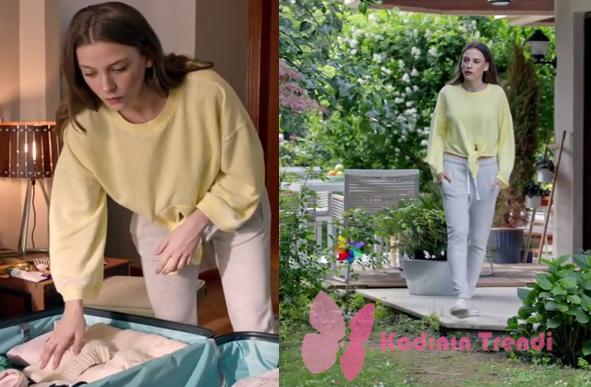 Fi 11. Bölüm serenay Sarıkaya sarı gri spor giyim kombin