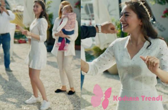 Kara Sevda 71. Bölümde Nihan'ın düğünde oynarken giydiği beyaz elbise