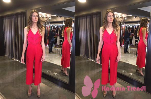 Nil in Fazilet Hanım 10. Bölümde giydiği kırmızı tulum Merve Topal marka
