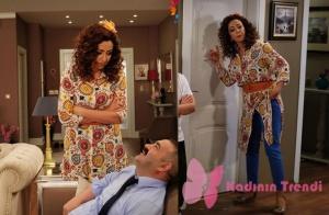 Türk Malı 2. Bölümde Bakiyenin giydiği desenli tunik gömlek Batik markadır