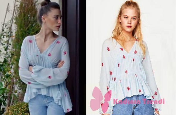 fi 11 bölümde Durunun giydiği çiçek desenli açık mavi bluzu Zara marka