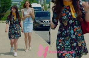 Nazlı karakterinin giydiği çiçek desenli elbise zara marka