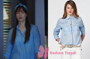 Dolunay 1. bölümde Nazlının giydiği delikli mavi gömlek İpekyol markadır.