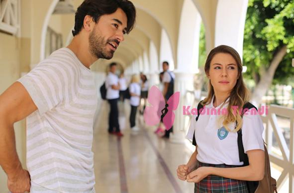 Kalp Atışı 1. Bölüm Dizi Kıyafetleri Ali beyaz krem çizgili tshirt Zara marka
