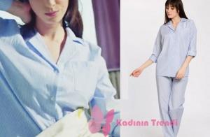 Nazlı karakterinin giymiş olduğu mavi çizgili pijama takımının markası Lutino Design