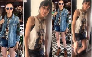 Alya kolları desenli kot ceket: Drape Butik, desenli t-shirt: Les Benjamins, Alya güneş gözlüğü: Turkuaz Optik, Alya Kemer: Lidyanacom, Alya Short: Zara, Alya'nın Botlar: Markaducom