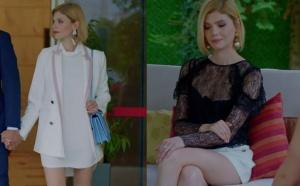 Dolunay Demet dizi kıyafetleri Beyaz ceket kombini ve siyah transparan bluzu