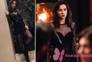 Alya siyah kombin markası: Alya siyah botlar: Casavie Shoes, kemer: Stradivarius, siyah file elbise: Zara.