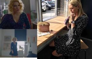 Derin'in 7. Bölümde giydiği beyaz puantiyeli siyah elbise markası Forever New