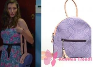 Dolunay Asuman hakiki deri mor lila sırt vegan çantası Pinky Lola design markadır