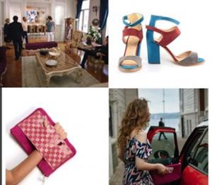 Fazilet Hanım ve Kızları 16. bölümdeSelin mavi bordo sandalet ve pembe el çantası