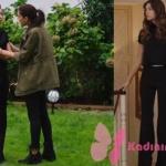 Fazilet Hanım ve Kızları siyah kombin siyah ispanyol paça pantolon ve Ece siyah bluz