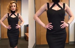 Meryem 7. Bölümde Açelya Topaloğlu nun giydiği siyah bantlı elbise Süleyman Tezcan markasıdır