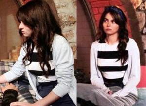 Meryem Siyah Beyaz çizgili Bluz ve beyaz hırka görseli