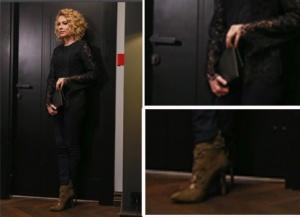 Meryem dizisinde Derin siyah kombin markaları şöyle; Derin dantel bluz ve Derin pantolon: araştırılmakta, Derin siyah çanta markası Saide Jang. Derin siyah bot markası İnci Deri.