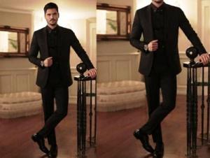 Siyah İnci Kenan siyah takım elbise damat siyah rugan ayakkabı Derimod Kenan gravat iğnesi Mazura marka